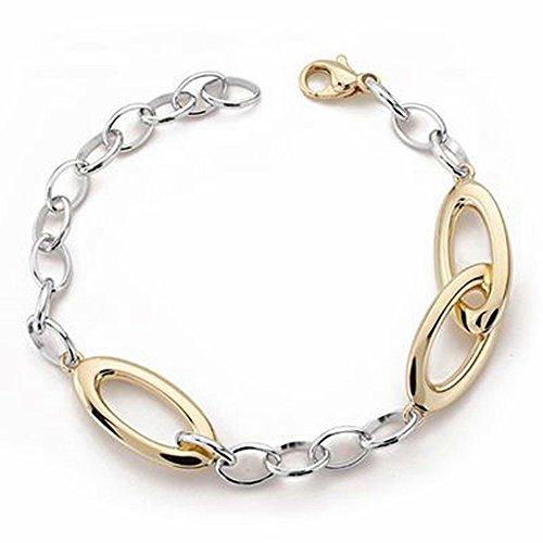 Bracelet or 9k creuse bicolor 20cm. [AA2716]