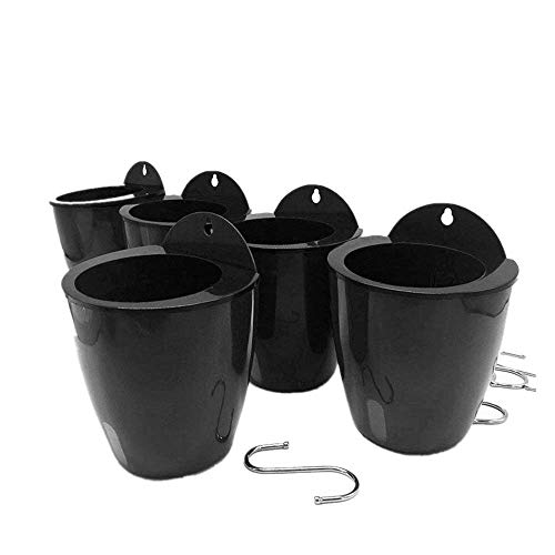5 Pack Lazy Flower pots Water Hanging Plants Pot/Self Watering Planter,Succulent Plants and Small Flower pots Visible Water Level with 5 Hooks Silver (Dark Grey)