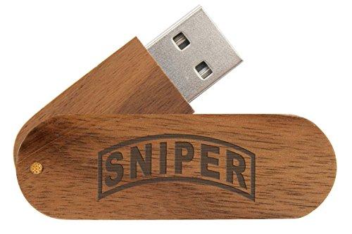 16 Gigabyte USB Flash Drive Black Walnut NDZ Banner Sniper