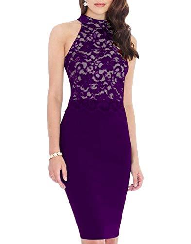 1950 Vintage Dress for Women Lace Floral Clothing Ladies Cocktail Party Dress Casual Work Clothes 176 (L, Purple)
