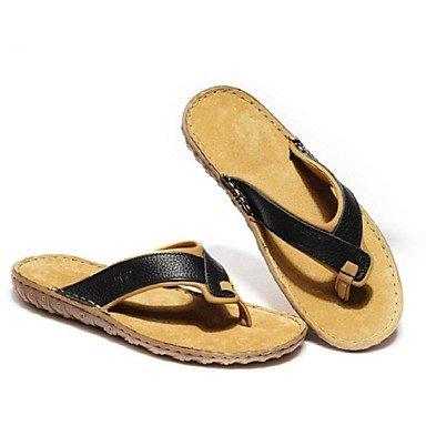 Sandalias de verano zapatos de hombre exterior / Casual Zapatillas de cuero negro / marrón Brown