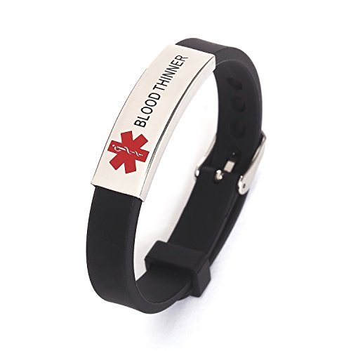 Blood Thinner Silicone Rubber Bracelet with Surgical Steel Medical Alert ID Adjustable (Small Medical Id Bracelet)
