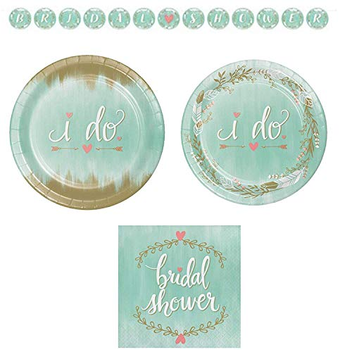 Mint To Be I Do Bridal Shower Disposable Paper Party Supplies Serves 16: Teal Banquet Plates + Dessert Plates + Lunch Napskins + Banner