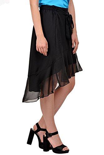 Porter Taille Noir Cordon lastique Femmes Jupe pour Georgette Volants Haute De Basse Jupe Y8Spq7q