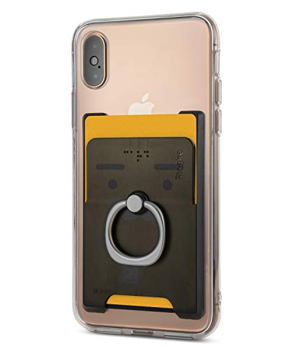 Ringke Ring Slot Card Holder [Onyx Black] Slim Hard Premium PC Credit Card Accessory Attachment with Finger Ring Compatible for iPhone, Galaxy, Pixel and More