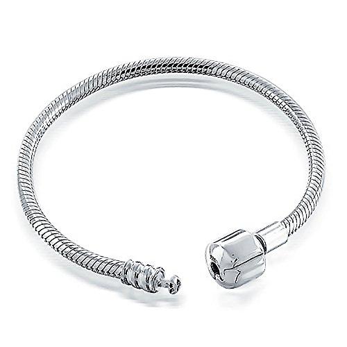 Snake Chain Starter Charm Fits European Beads Bracelet For Women Teens Strong 925 Sterling Silver Barrel ()