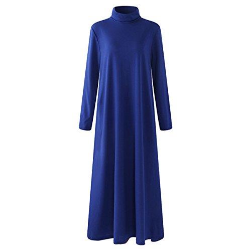 SIMSHION Women's Casual Loose Turtleneck Long Dress Side Pocket Long Sleeve Solid Maxi Dress Blue M