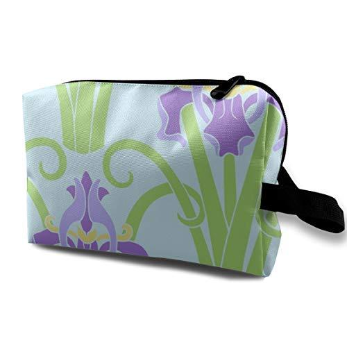 Art Nouveau Iris - Bright_417 Toiletry Bag Cosmetic Bag Portable Makeup Pouch Travel Hanging Organizer Bag For Women girl 10x5x6.2 ()