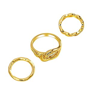 Lane Woods Stackable Rings for Women, 18k Real Gold Plated Knuckle Midi Rings Set of 3
