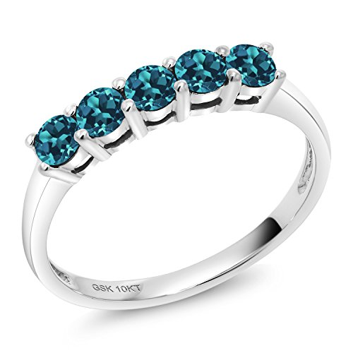 0.65 Ct Round London Blue Topaz 10K White Gold 5 Stone Anniversary Band Ring (Size 8) ()