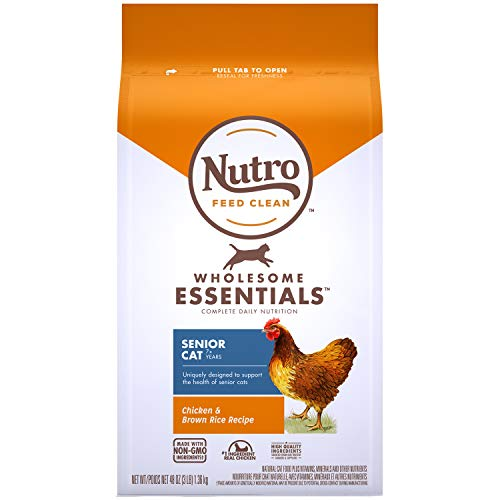 NUTRO WHOLESOME ESSENTIALS Senior Indoor Natural Dry Cat Food for Healthy Weight Farm-Raised Chicken & Brown Rice Recipe, 3 lb. Bag (Best Cat Food For Older Cats)