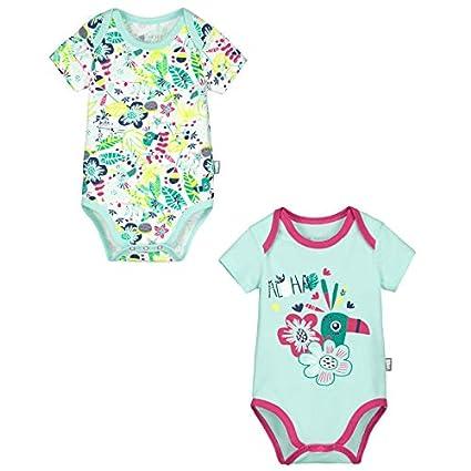 Petit Béguin - Lot de 2 bodies manches courtes bébé fille Hamini - Couleurs  - Bleu 797a1200583
