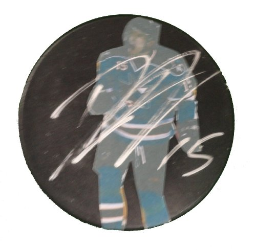SJ Sharks Dany Heatley Autographed Hand Signed San Jose Sharks Photo Hockey Puck with Proof Photo of Signing and COA