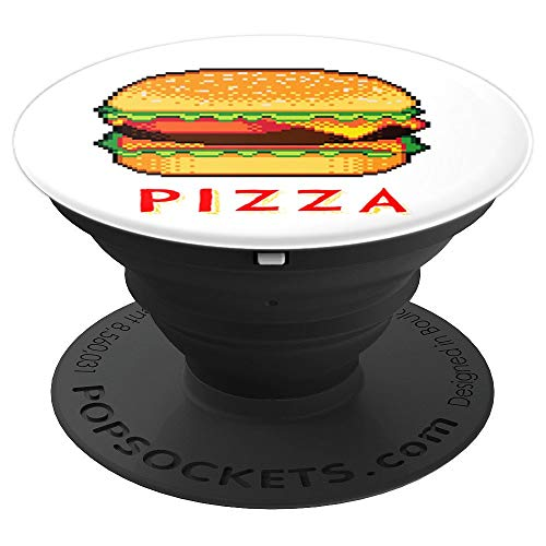 PIZZA  CHEESEBURGER 8 bit Pixel 80s Arcade Gamer Geek Outfit PopSockets Grip and Stand for Phones and Tablets]()