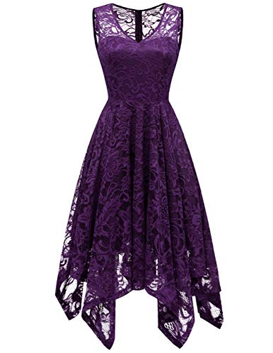 Meetjen Women's Elegant Floral Lace Sleeveless Handkerchief Hem Asymmetrical Cocktail Party Swing Dress Grape L ()