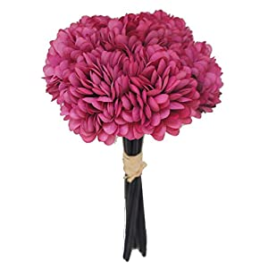 Lily Garden Silk Chrysanthemum Ball 7 Stems Flower Bouquet (Fuchsia) 24