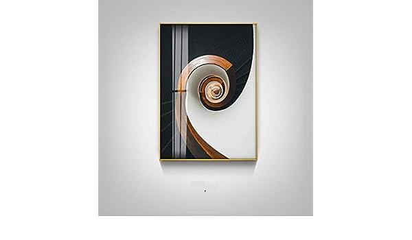 IUYWL Salón Mural Restaurante Colgando Pintura Sofá Norte Fondo Pintura Decorativa Edificio Escalera De Caracol Pintura Naranja Cuadros Decorativos (Color : B): Amazon.es: Hogar