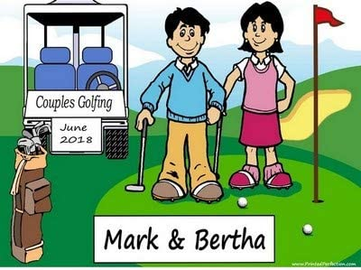 Amazon Com Personalized Golfing Couple Download Print At Home Use Online Make Crafts Gifts Golfer Tournament Trophy Posters Prints