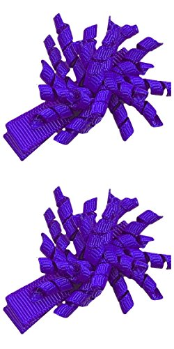 Hair Bow Set for Girls - (2) 1.5 Inch Mini Korkers (Purple)