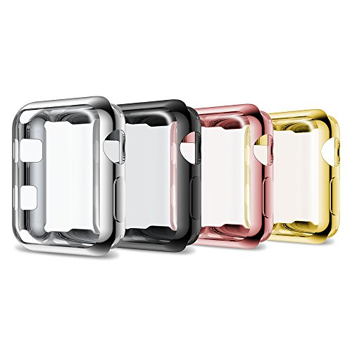 ANCOOL Compatible Apple Watch Protective Cover Case Full-Around Cover Soft TPU Protective Case Replacement for Apple Watch Series 3/2 (38mm 4PCS Pack) by ANCOOL