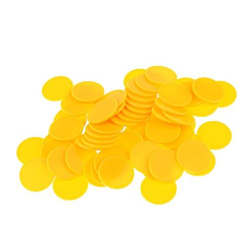 Baosity 約100枚 プラスチック カジノ ビンゴチップ チップ ゲーム おもちゃ 子供早期教育 脳開発 黄色