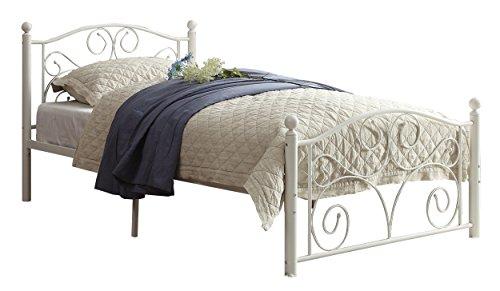 Homelegance 2021TW-1 Metal Platform Bed, Twin, White