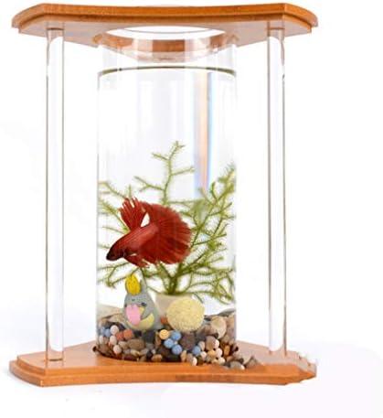 デスクトップ水槽LEDライトミニ水族館、生態学的ボトル回転寝室の魚の水槽ベタ小型水槽ガラス魚花瓶家の装飾のため