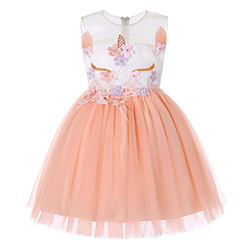 Flower Girl Unicorn Dress for Baby Girls Kids Princess Birthday Party Ball Gowns Unicorn Costume Dress Girls Tutu Dresses Pageant Party Evening Gowns Halloween Outfit Size 3 2-3 (1870 Dusty Rose, 3) ()