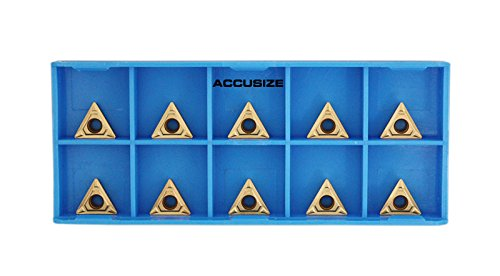 Accusize Tools - Carbide Inserts, TCMT 221, C6, TiN Coated, 10 pc/Set, 2224-0193x10 by Accusize Industrial Tools
