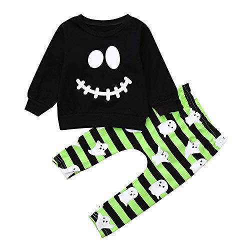 AR-LLOYD Cute Halloween Clothes Baby Boys Long Sleeve Smiley Face Hoodie Tops +Stripe Pants Outfit Sets (Green, 100/2-3y)