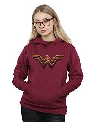 Dc Red Sweatshirt (DC Comics Women's Justice League Movie Wonder Woman Emblem Hoodie Small Burgundy)