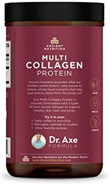 Multi Collagen Protein Powder Pure, Formulated by Dr. Josh Axe, 5 Types of Food Sourced Collagen Peptides, Supports Hair, Joints, Skin and Nails, Made Without Gluten & Dairy, 8.6oz 10
