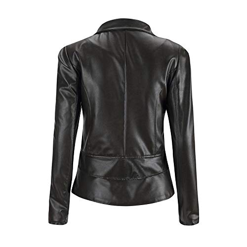 Color Black Faux Motorcycle Side Coat Ladies Leather Autumn Solid Zipper Jackets Jacket Leather Women Everpert 76wS11