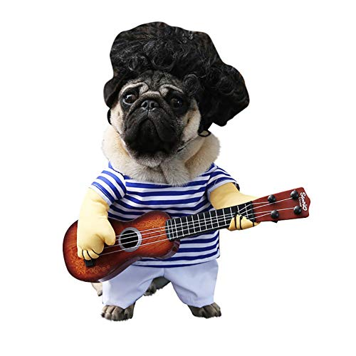 gu6uesa8n Funny Stripe Guitar Pet Halloween Clothes for Cat Dog Costume Cosplay Party Dress Up M]()
