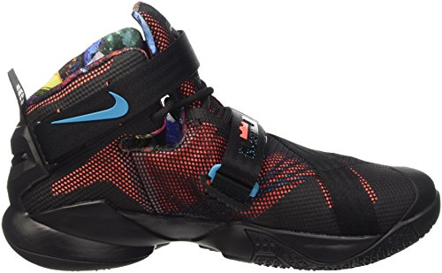 Nike Lebron Soldier Ix - Calzado Deportivo para hombre Negro / Naranja / Azul (Blk / Hypr Orng-Bl Lgn-Grn Shck)