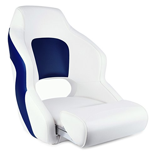 Leader Accessories Two Tone Captains Bucket Seat Premium Sports Flip Up Boat Seat (White/Blue)