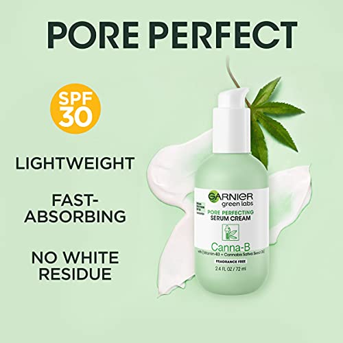 Garnier SkinActive Green Labs Canna-B Pore Perfecting Serum Cream Moisturizer, Fragrance Free, SPF 30 and Niacinamide Vitamin B3 and Cannabis Sativa Seed Oil + Micellar (In Carton)(Package May Vary)