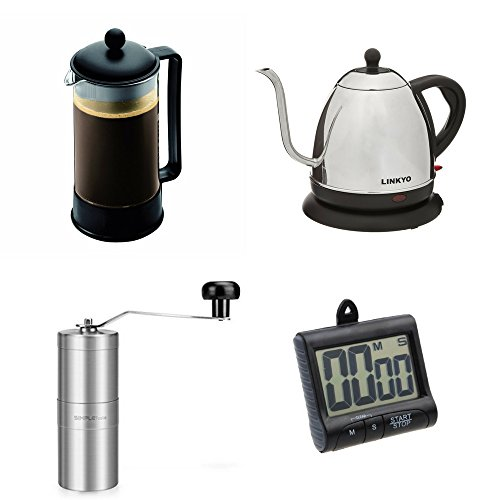 French Press Coffee Maker With Timer : Bodum-Black-Brazil-French-Press-Coffee-Maker-8-Cup-w-LINKYO-Electric-Kettle-Coffee-and-Tea ...