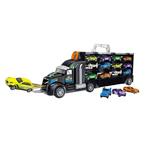Dacawin Transport Car Carrier -Toy Truck Includes 12PC Mini Cars+Helicopters -Vehicle Container Car Toy Set Children's Gift for Kids (A, Truck Toy) ()