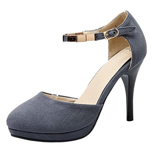Mujer Aguja de Zapatos Tacon Para de Suede RAZAMAZA Grey In6HYUqS6