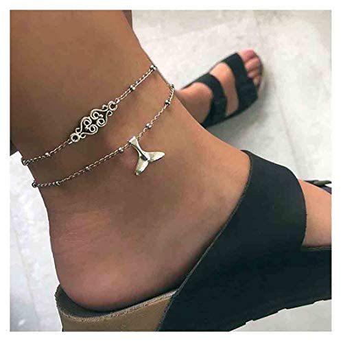 Olbye Whale Tail Anklet Bracelet Silver Layered Mermaid Ankle Bracelet Foot Chain Bridal Beach Jewelry Teen Silver 2