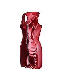 Diomor Womens Sexy Clubwear Faux Leather Zipper Bodycon Mini Dress Classic Party Night V Neck Strappy Bodysuit Lingerie