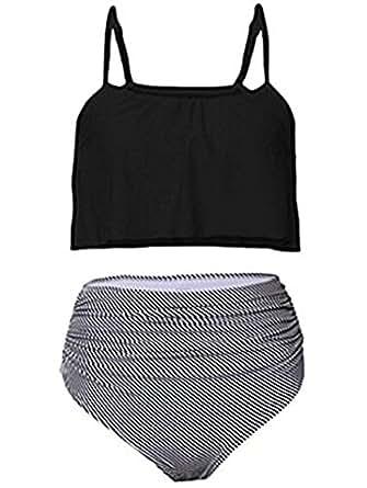 Sherrylily Women's Ruffled High Waisted Bikini Thin Shoulder Straps Ruched Bathing Suits Swimwear Black S(US 4-6)
