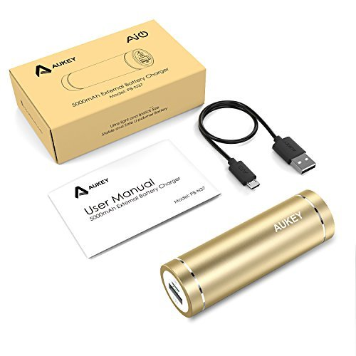 AUKEY little black dress 5000mAh particularly mobile Charger External Battery capability Bank using AiPower Adaptive Charging for iPhone 6S 6 6Plus Galaxy S7 S7 Edge Edge Note 5 and extra Gold instant Accessories