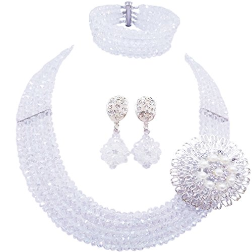 laanc Fashion Lady Jewellery 5 Rows MultiColor Crystal Nigerian Bridel Wedding African Bead Jewelry Sets (Porcelain White)