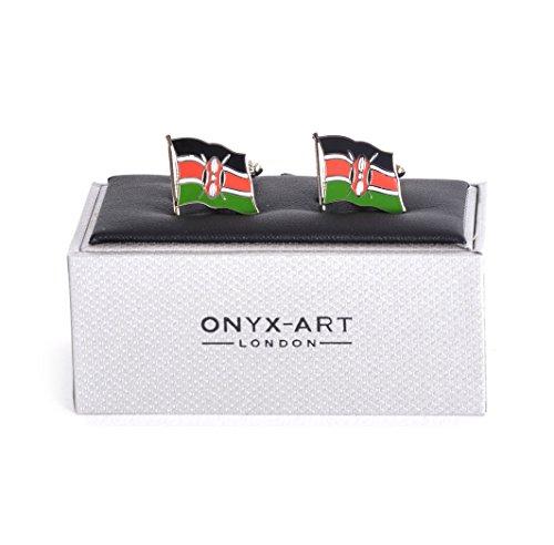 Onyx Art Cufflinks - Kenya Flag - Kenyan Flying Flag ()