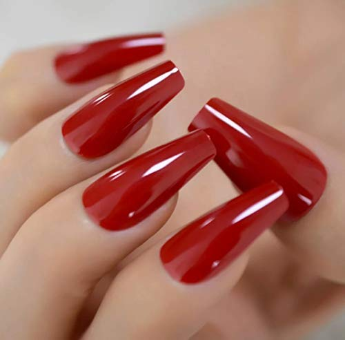 EDA LUXURY BEAUTY RED GLAMOROUS DESIGN Full Cover Press On Gel Glitter Artificial Nail Tips Shiny Acrylic Elegant False Nails Extra Long Ballerina Ballet Coffin Square Super Fashion Fake Nails