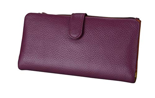 Genuine Soft Leather Clutch Wallets Long Bifold Purse Female Clutch Bag Coin Purses Card Holder by WUDEF