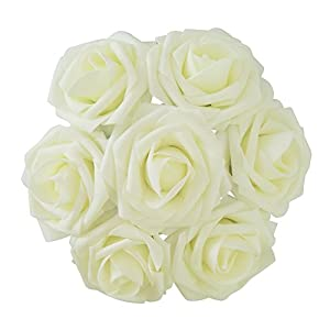 J-Rijzen Jing-Rise 30pcs Ivory Foam Roses Artificial Flowers with Stem for Table Centerpieces Wedding Floral Arrangements Baby Shower Decorations Corsage Supplies(Ivory) 108