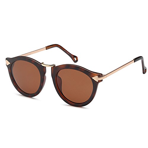 CATWALK UV400 Womens Round Cat Eye Sunglasses with Arrow Design Metal Fashion Frame and Flash Lens Option – Brown Lens on Tortoise - On That Good Sunglasses Round Faces Look